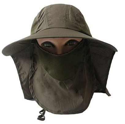 (Panegy Women Outdoor Wide Brim hat Cycling Fishing Anti-UV Flap Cap with Removable Sun Shield Mask - Army Green)