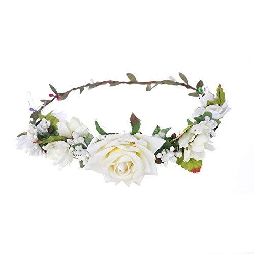 Women Rose Flower Crown Hairband Wedding Garland Headband Festival Headdress (Color - White)