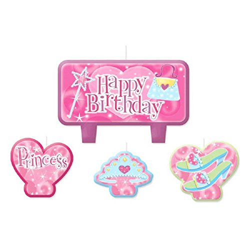 Party Time Princess Molded Mini Character Birthday Candle Set, Pack of 4, Pink , 2.3