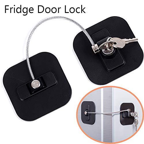 Cabinet Refrigerator Side By Side - Refrigerator Lock, Fridge Lock with Keys, Freezer Lock and Child Safety Cabinet Lock with Strong Adhesive (Fridge Lock-Black 1Pack)