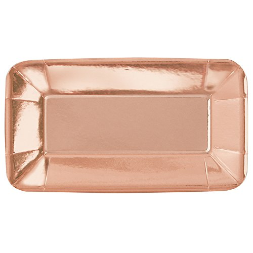 Foil Rose Gold Rectangle Paper Appetizer Plates, 8ct