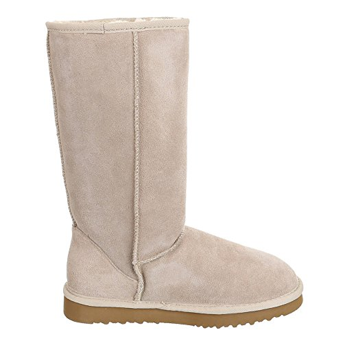 Ital-Design Damen Schuhe, WX5828, Stiefel Warm Gefütterte Wildleder Boots Beige