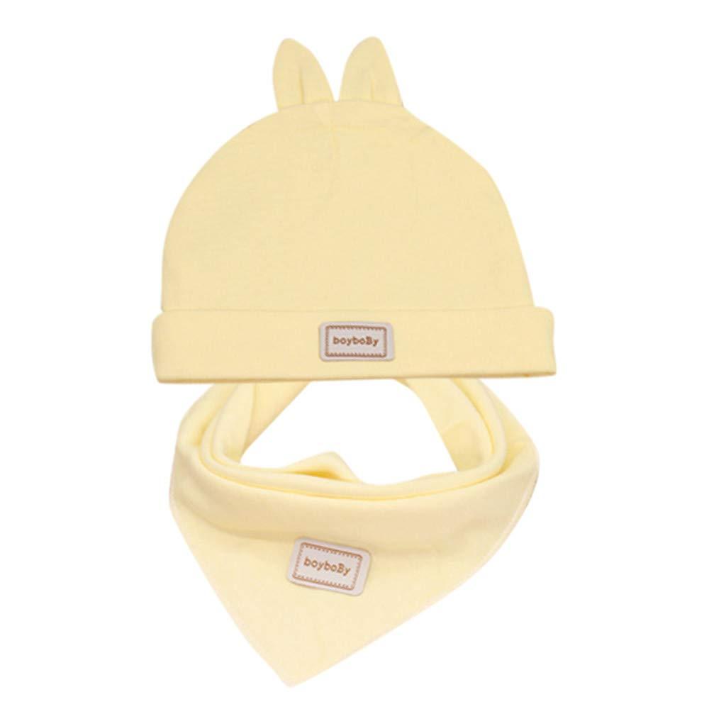 Baby Bibs, Bandana Bibs Cap Set, Saliva Towels Combination Headband Rabbit Hat, Unisex Drool Bibs for Infant Toddlers Newborn, Boys and Girls Gift Set (1 pc, Yellow)