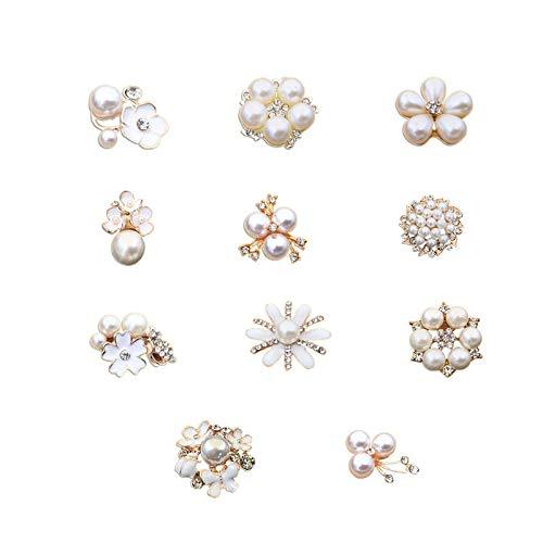 (DIY-SHINNY 11 pcs Mixed Kit Pearl and Clear Crystal Rhinestone for Wedding Invitation Brooch DIY Bouquet Decor (11 pcs))