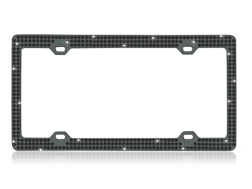 - Bling Triple Rows Black Color Glass Crystal Embedded Metal Black/Smoke Color License Plate Frame with Free Caps