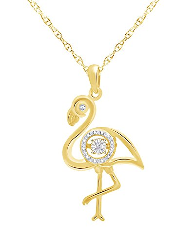 - Wishrocks Round Cut Diamond Accent Flamingo Pendant in 14K Yellow Gold Over Sterling Silver