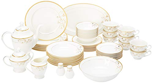 Lorren Home Trends La Luna Bone China 57-Piece 24K Gold Floral Design Dinnerware Set, Service for 8