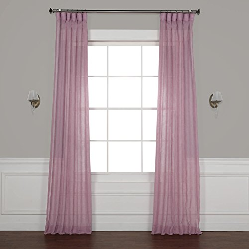HPD Half Price Drapes SHCH-SS07168-120 Solid Faux Linen Sheer Curtain, 50 X 120, BlackBerry Cream (Berry Curtains)