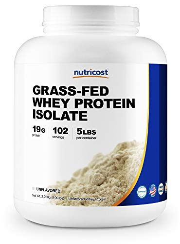 Nutricost Grass-Fed Whey Protein Isolate Unflavored 5LBS – rBGH Free, Non-GMO Gluten Free