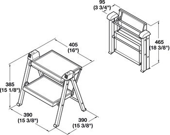 2 Step Stool by Hafele, 330 lbs load capacity, heavy duty, folding, White/Gray, 465mm by Hafele (Image #1)