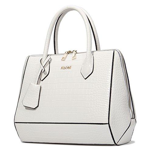 Women Handbag Shoulder Bag Messenger Tote Purse PU Leather (White) - 3