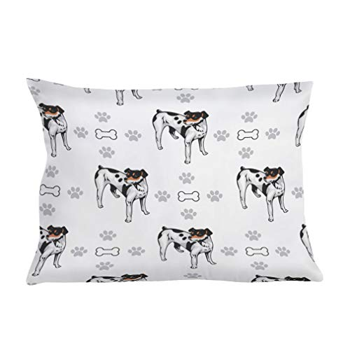 Rat Terrier Bone - Style In Print Personalized Pillow Case Rat Terrier Dog Bones Paws Polyester Pillow Cover 20INx28IN Design Only One Pillowcase