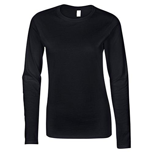 Gildan Ladies/Womens suave estilo manga larga camiseta, camiseta, camiseta negro