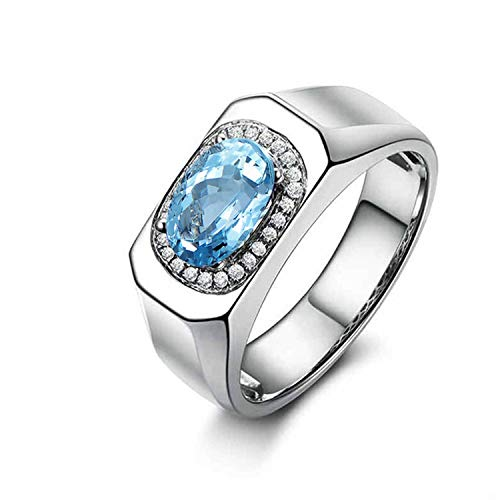 Gnzoe Jewelry-925 Sterling Silver Women Oval Anniversary Rings Blue Created-Topaz December Birthstone Size 8