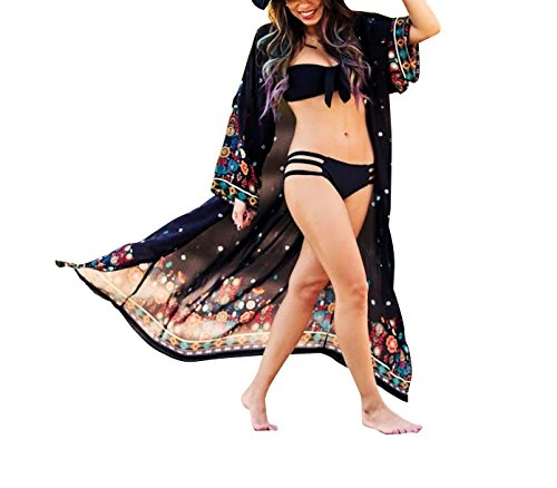 Women's Bathing Suit Cover Up Beach Bikini Kimono Cardigan (Black, One Size)