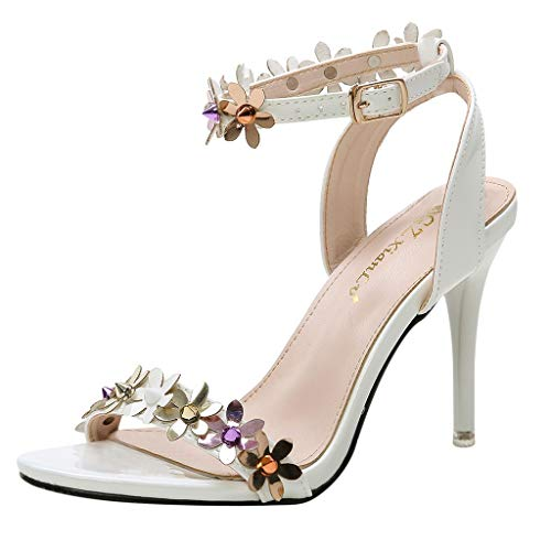 High Heels Dresses Shoes for Women,QueenMM Open Toe Buckle Strap Pump Heel Sandals for Evening Party Wedding White