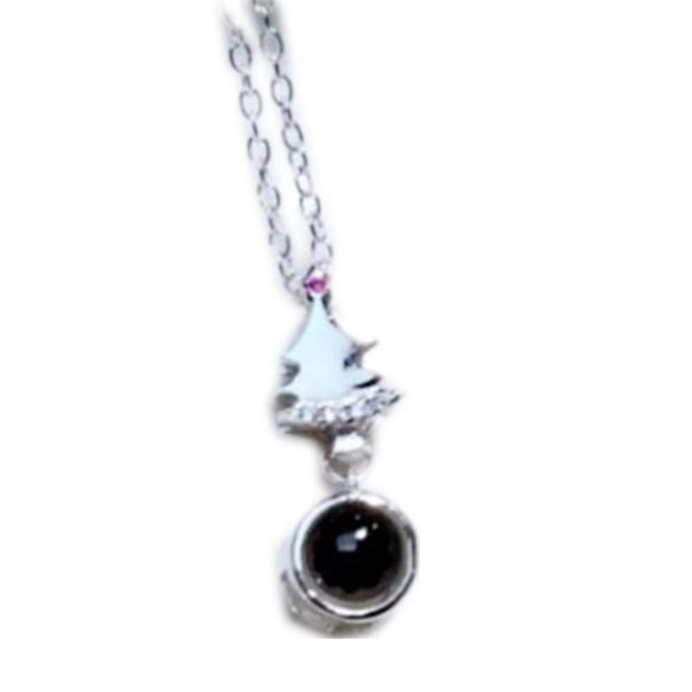 FORTUN 925 Sterling Silver Custom Projection Stone Necklace Silver 15.75