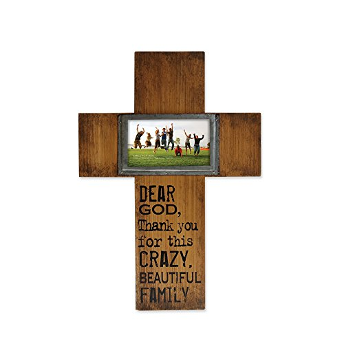 - Enesco Where the Heart Is by Gregg Gift Cross-shaped Wood and Metal Wall Photo Frame, 5x3