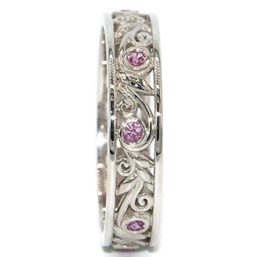 14k Gold Vine - 14k White Gold Wedding Band, Vine and Leaves Eternity Band, Feminine Wedding Ring, Pink Sapphires Band, Wedding Eternity Band, Size 8.5 Ring