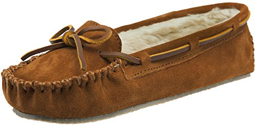 Minnetonka Women's Cally Faux Fur Slipper, Brown, 5 M US