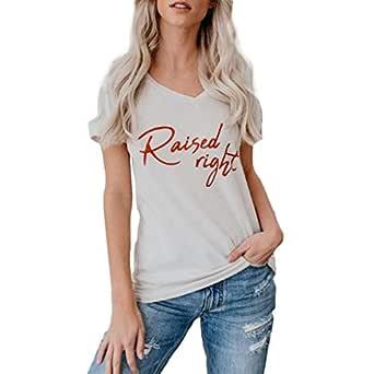 OPAKY Mujeres Casual Manga Corta Carta Impresa Tops Suelta T-Shirt ...
