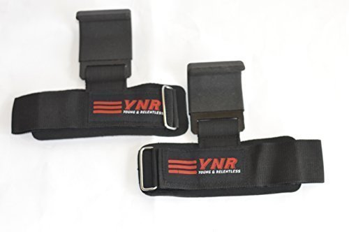 YNR Power Weight Lifting Body-Building Steel Hooks Straps Gym Training Hand Bar Wrist Support Wraps Red by YNR