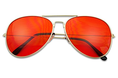Classic Gold Slim Metal Retro Red Colored Tint Transparent Lens Sunglasses (Gold, Red)