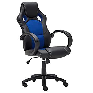 Best Choice Products Executive Racing Office Chair PU Leather Swivel  Computer Desk Seat High Back Blue
