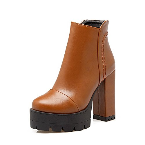 Closed Toe Pu High Women's Allhqfashion Round Brown Heels Zipper Boots Solid A0SEwxq8