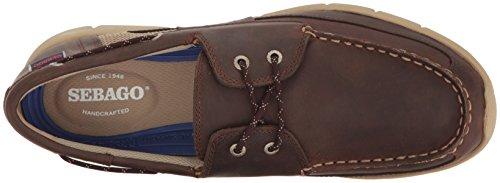 Sebago Men's Kinsley Two Eye Boat Shoe, Dark Brown Leather, 8.5 M US