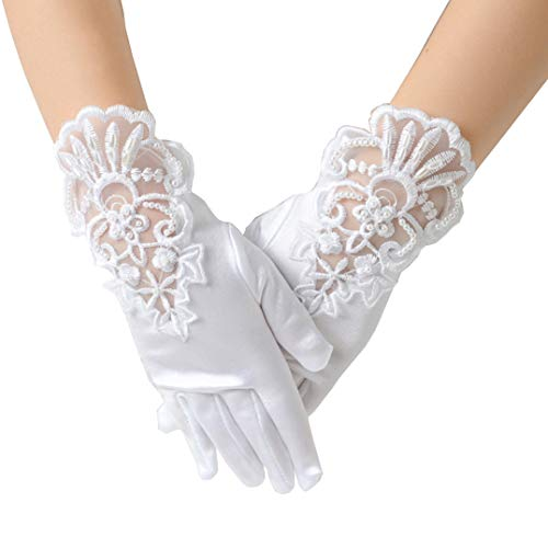 Tandi Girls Gorgeous Satin Fancy Gloves for Special Occasion Dress Formal Wedding Pageant Party Short ()