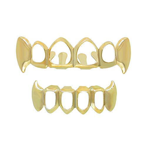 TSANLY 24K Gold Plated Grillz Teeth Open Face Vampire Fangs Grill Caps Top & Bottom Set for Kids + Extra Molding Bars + Microfiber Cloth]()