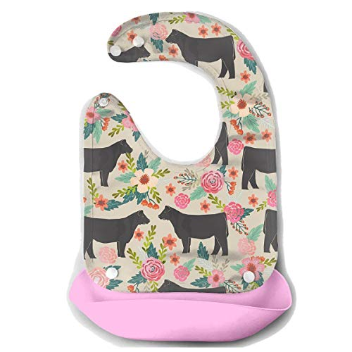 DESEEVI Show Steer Cows Farm Barn Silicone Bib Waterproof Adjustable Snaps Baby Bibs for Infants and Toddlers Unisex