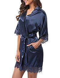 Women's Lace Trim Kimono Robe Nightwear Nightgown Sleepwear Satin Short Robe