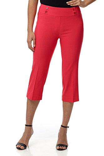 Rekucci Women's Ease in to Comfort Fit Capri with Button Detail (Designer Capri Pants)