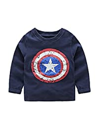 Little Boys Captain America Shield Cotton Long Sleeve Shirts Sweatshirt