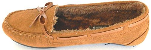 Les Femmes Chaudes Hiver Confortable Doublure De Fourrure Classique Mocassin Slip Sur Les Chaussures Plates Camel C-116