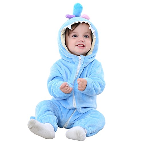 MICHLEY Unisex Baby Romper Winter and Autumn Flannel Jumpsuit Animal Cosplay Outfits Blue-90cm ()