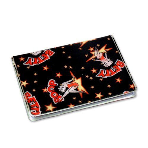 Betty Boop Lenticular ID Card Holder with vinyl insert of six frosted pockets, Changing Image Pattern, Black