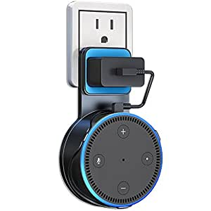 Echo Dot Wall Mount, ATOOZ Outlet Shelf with Charging Cable for Dot 2nd Generation, Space-Saving Alexa Accessories for Your Smart Home Speakers without Messy Wires or Screws (Black)