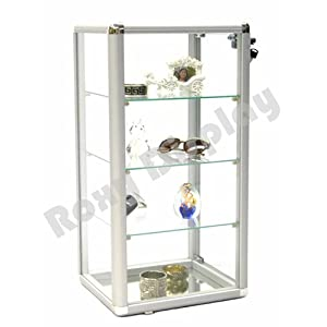 (SC-KD) ROXYDISPLAY™ COUNTER TOP GLASS CASE With one free LED light, Standard aluminum framing, with lock and mirrored base (SC-KDCAB+SC-PYLED)