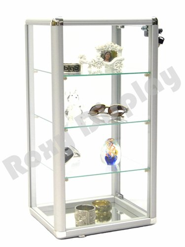 ROXYDISPLAY™ (SC-KDCAB) COUNTERTOP Glass CASE Standard Aluminum framing,with Lock and Mirrored ()