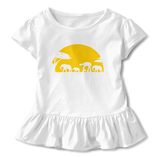 Toddler Baby Girl Elephants and Imperial Walker Across African Safari Short Sleeve Ruffled T-Shirt Cotton Graphic Sleeve Tops ()