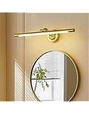 HMAKGG Vintage badrum vägglampor 6 W 540 LM LED badrum spegel ljus 43 cm mässing akryl spegel främre makeup-belysning, mässing varm vit 3 000 K