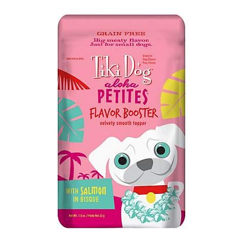 Tiki Dog Aloha Petites Salmon Flavor Booster Bisque Pouches - Grain Free Dog Food Flavor Booster - 1.5 oz (12 Pack) by TIKI PETS