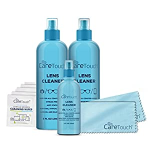 Care Touch Lens Cleaner Care Pack Kit - 3 Lens Cleanser Spray Bottles, 6 Lens Wipes and 2 Microfiber Lens Cloths for all Lenses and Screens
