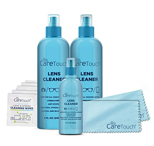 Care Touch Lens Cleaner Care Pack Kit - 3 Lens Cleanser Spray Bottles, 6 Lens Wipes and 2 Microfiber Lens Cloths for all Lenses and - Cleaner Lens For Glasses