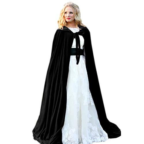 Burgundy - Vendas de terciopelo con capucha para mujer, para boda o invierno, capa larga, Negro-Negro, XXXL