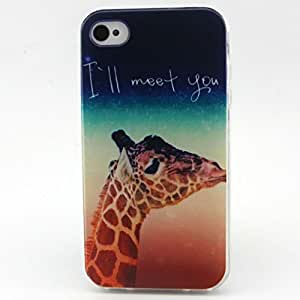 Iphone 4 Case, JAHOLAN I Will Meet You Giraffe Clear Bumper TPU Soft Case Rubber Silicone Skin Cover for iphone 4s 4