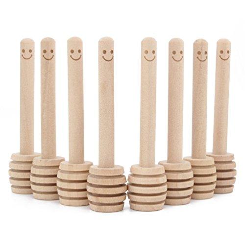 14 Pack - Mini Honey Dipper 3.2 Inch Wood Sticks with Cute Smile Face for Honey Jar Pot Dispense ()